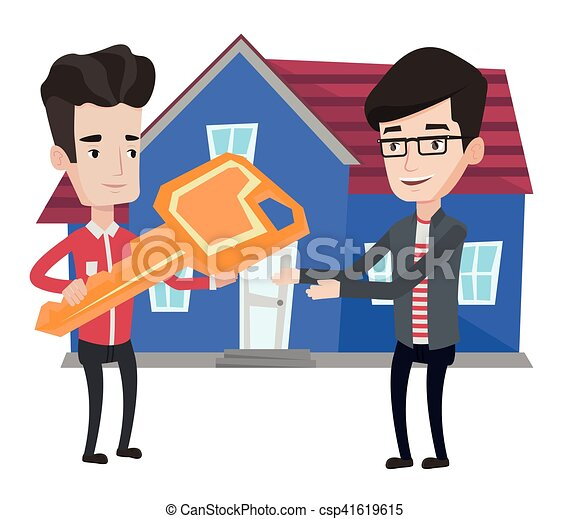 real estate agent giving key to new house owner real estate agent rh canstockphoto com New Home Graphics new home clipart images