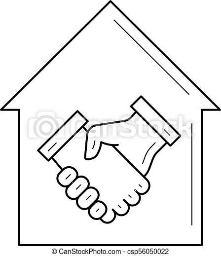 Real estate agreement line icon