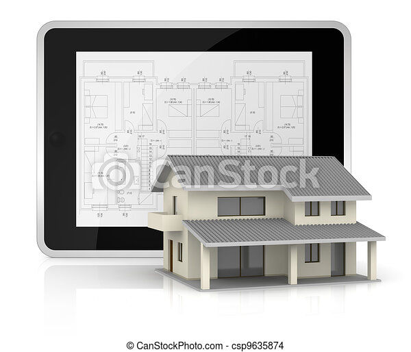 real estate and computer - csp9635874