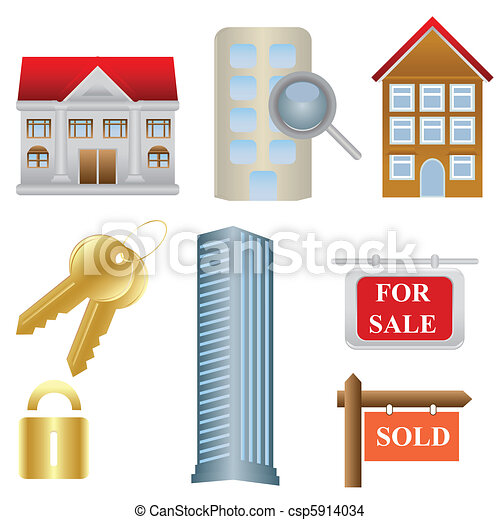 Real estate and housing icons - csp5914034