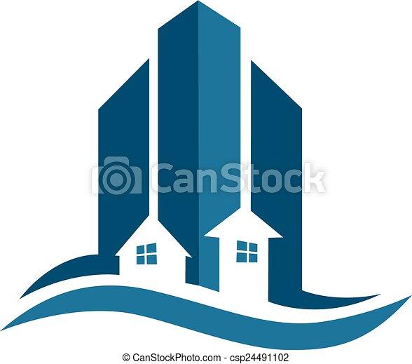 Real estate blue card logo - csp24491102