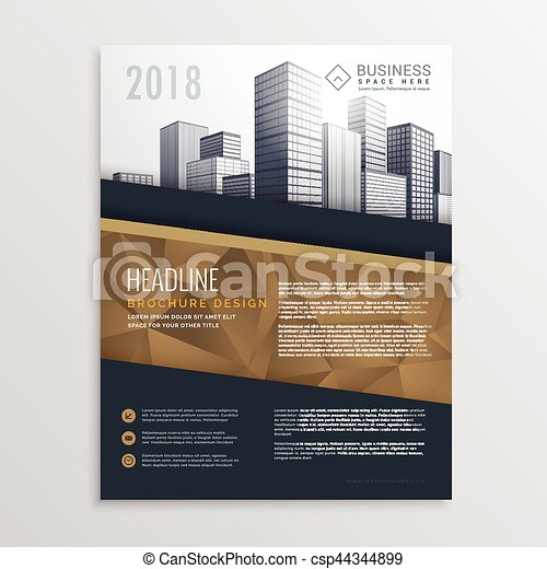 Real Estate Brochure Flyer Template Design With City Eps Vectors