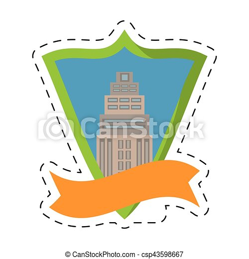 Real Estate Building Tower Shield Stamp Cut Line