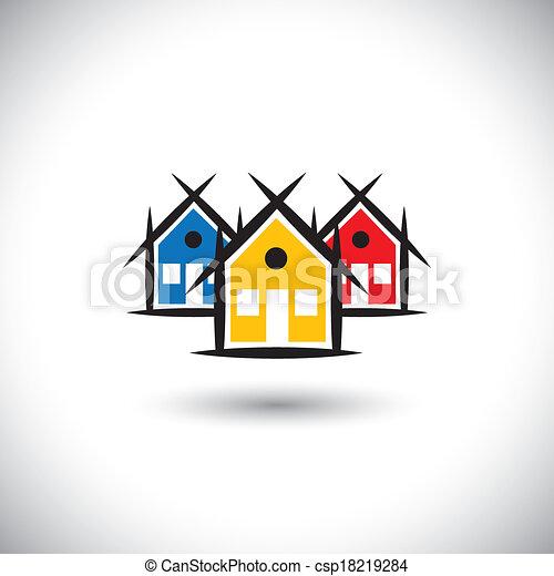 real estate, bunte, heiligenbilder, haus, abstrakt, vektor, eigenschaft, oder - csp18219284