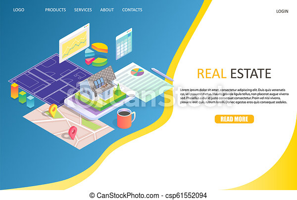 Real estate business landing page website vector template