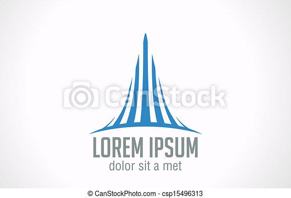 Real estate company Skyscraper concept vector logo design. - csp15496313