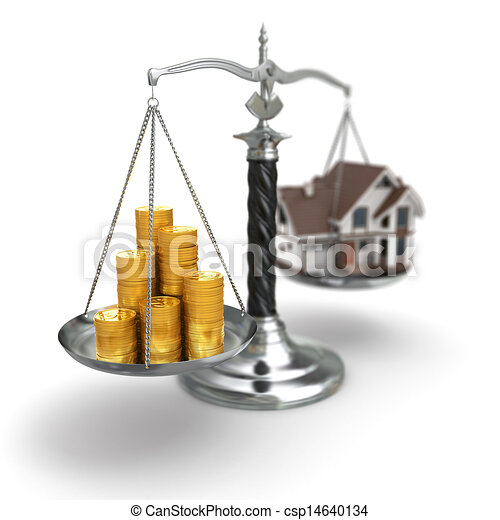 Real estate concept. House and money on scale. - csp14640134