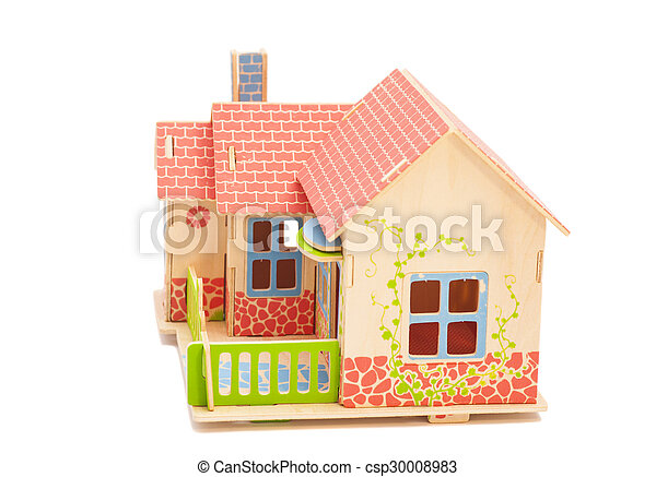 Real Estate Concept. Wooden house on white background - csp30008983