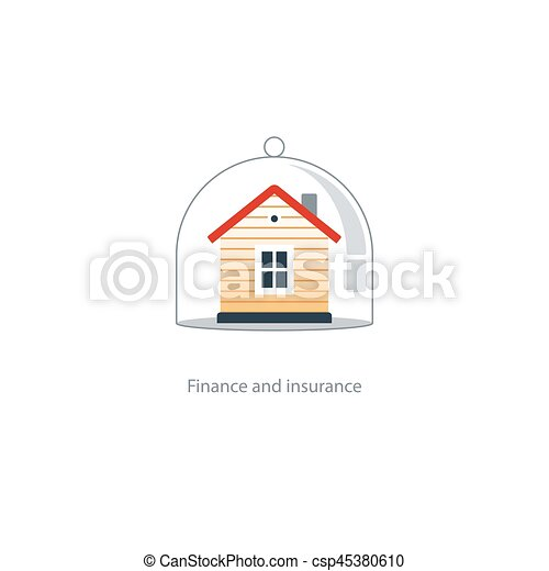 Real estate coverage icon, protection system, security, house insurance