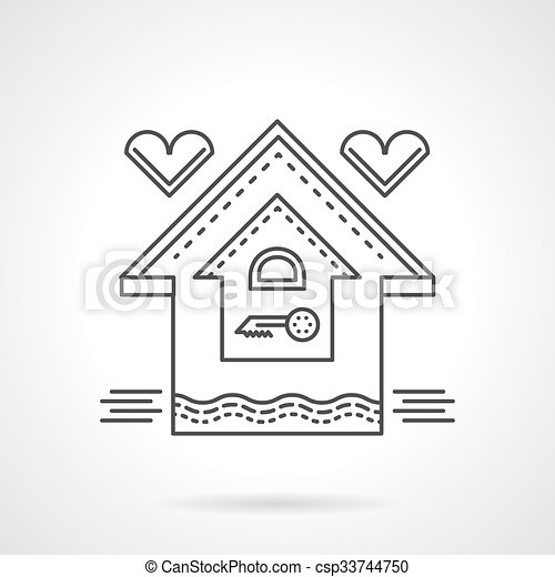 Real estate flat line vector icon. Family house - csp33744750