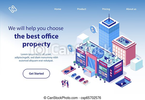 Real Estate For Business Isometric Vector Website Professional Realtors Services On Market Of Commercial Real Estate