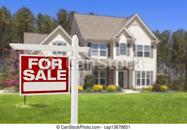 real estate, haus, verkauf zeichen, daheim - csp13678851