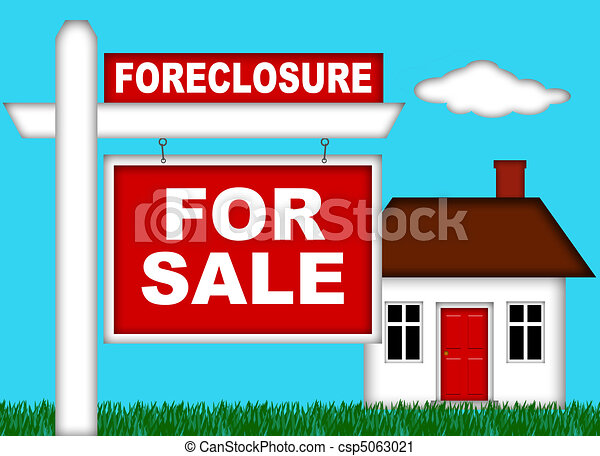Real Estate Home Foreclosure with For Sale Sign - csp5063021
