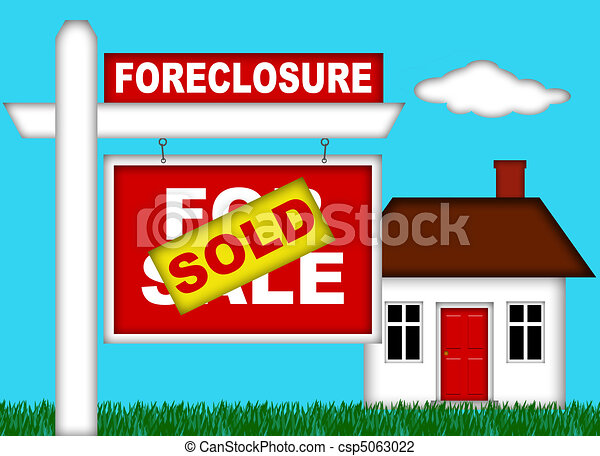Real Estate Home Foreclosure with Sold Sign - csp5063022