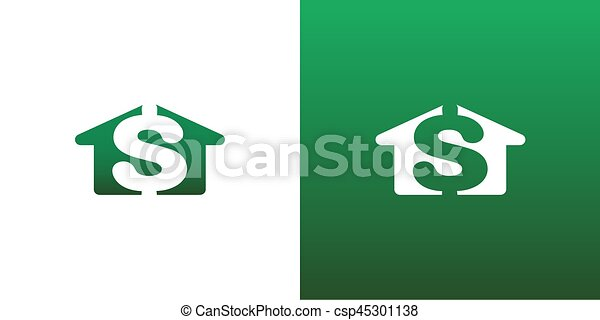Real Estate House Cost Money Vector Symbol - csp45301138