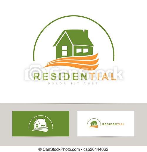 Real estate house green orange logo abstract vector template of a real estate house green orange logo csp26444062 reheart Image collections