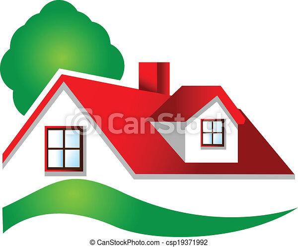 Real estate house logo - csp19371992