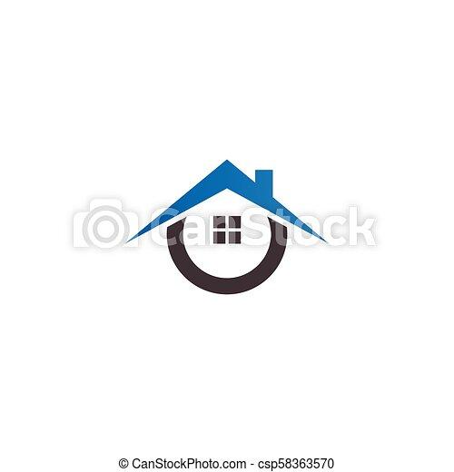 Real estate house logo icon design template - csp58363570