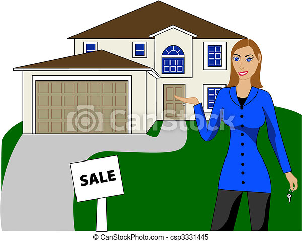 Real estate house woman vector illustration a real for Clipart estate