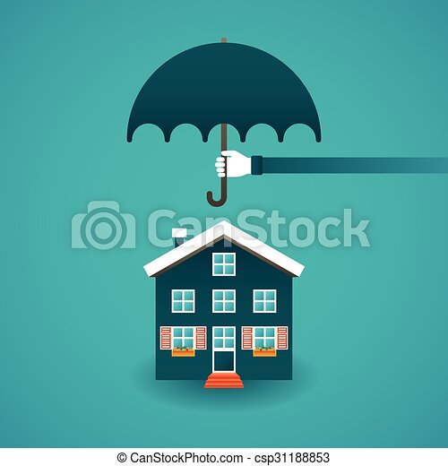 Real estate insurance concept in flat style - csp31188853