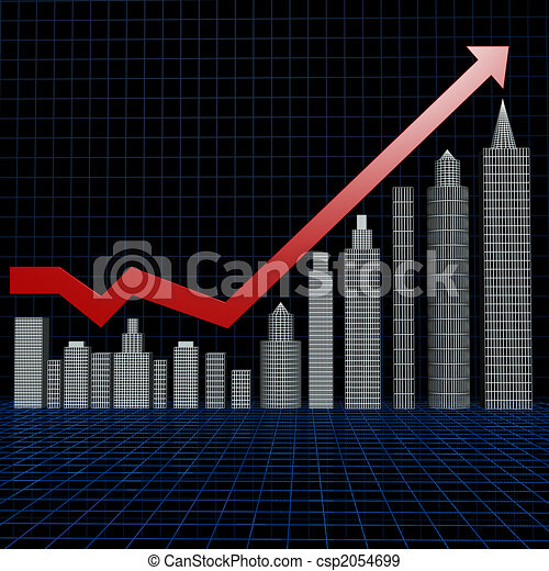 Real estate investment chart with wire frame floor - csp2054699