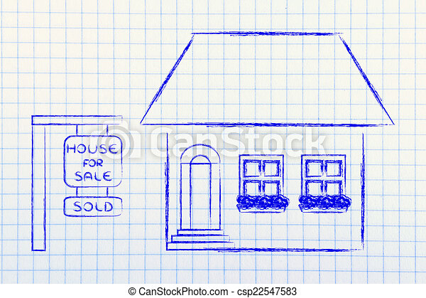 real estate market, funny house sold - csp22547583