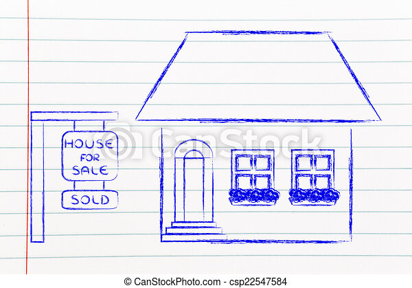 real estate market, funny house sold - csp22547584