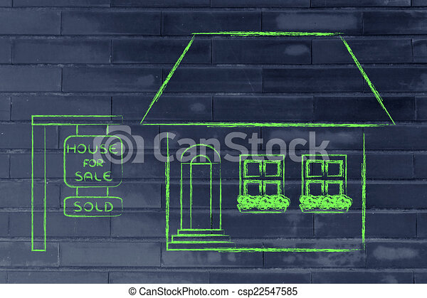 real estate market, funny house sold - csp22547585