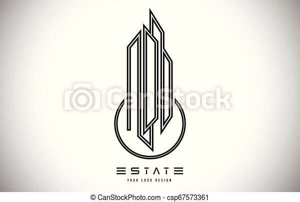 Real Estate Modern Monogram Logo Design Real Estate Lines Abstract Buildings Icon Real Estate Modern Monogram Logo Design