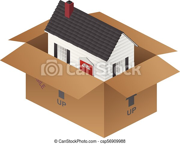 Real-estate Moving House Packing Box Vector Illustration - csp56909988