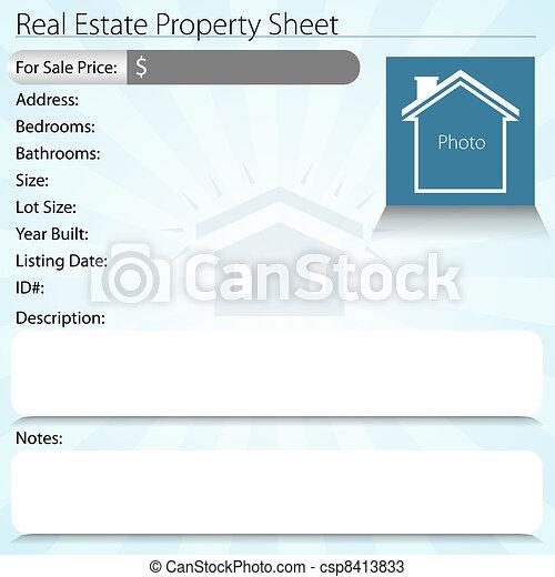 Real Estate Property Sheet - csp8413833