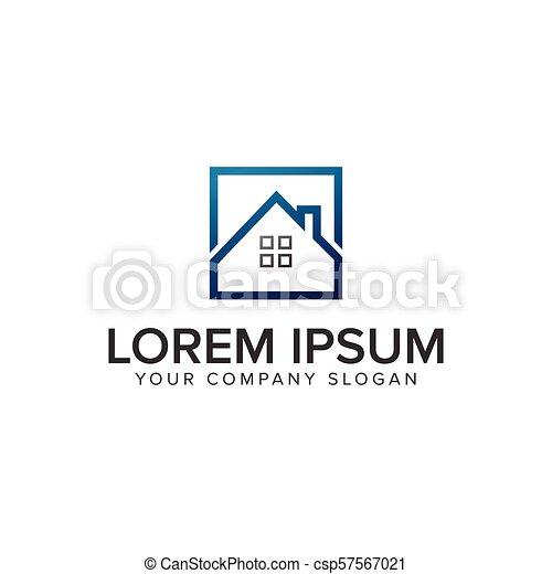 real estate square logo design concept template. - csp57567021