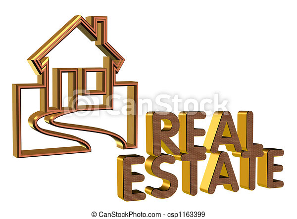 Real Estate symbol Logo 3D  - csp1163399