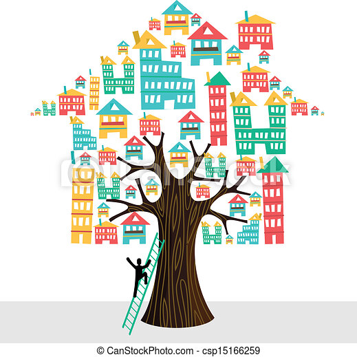 Real estate tree house icons human with ladder, rental concept. - csp15166259