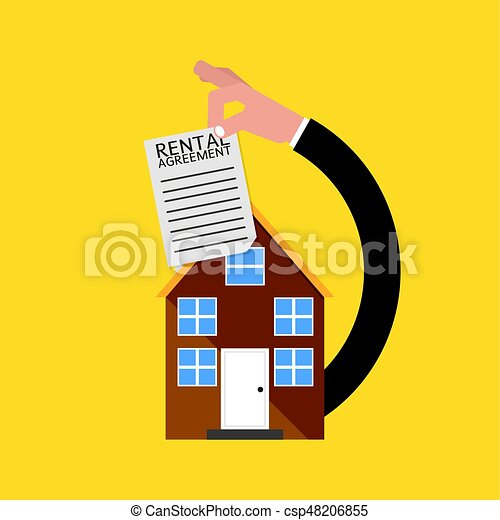 Real Estate With Rental Agreement Vector Illustration - csp48206855
