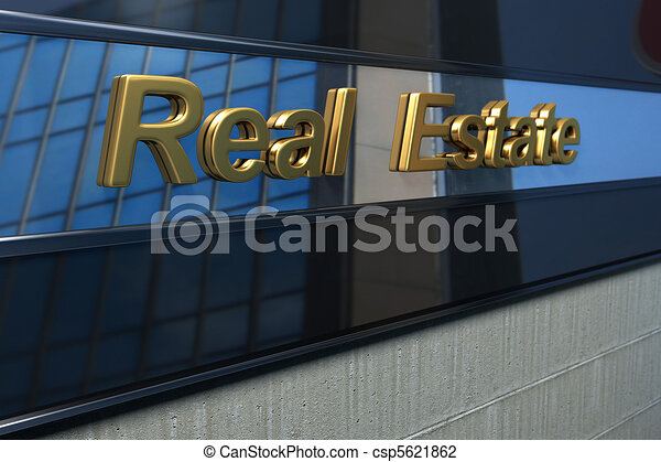 real estate word over a modern facade with reflection of a building in the mirror - csp5621862