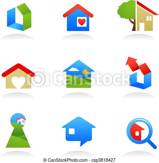 real, logotipos, propriedade, /, ícones - csp3818427