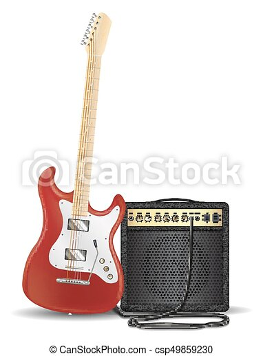 Real Red Electric Guitar With Amplifier