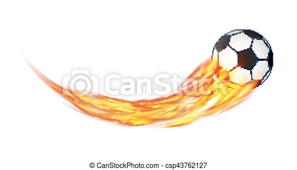 real soccer football with a burning fire vector - csp43762127