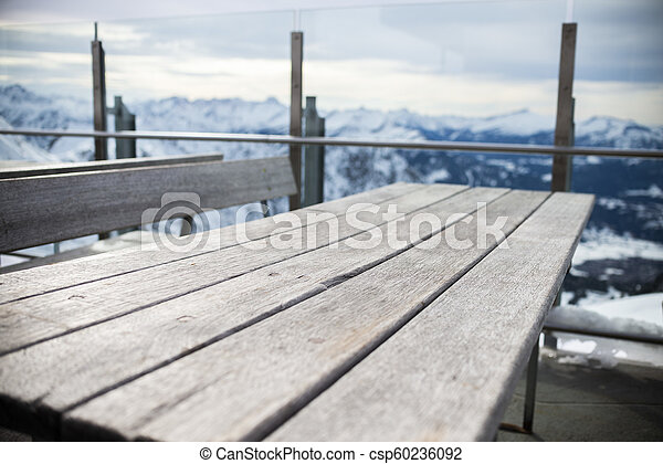 real table desk in the mountain, winter - csp60236092