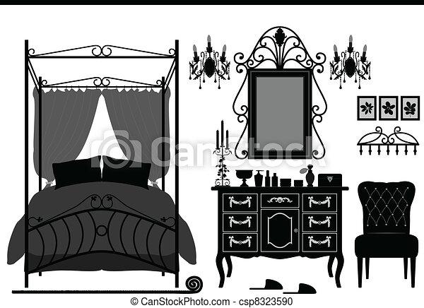 reale, camera letto, vecchio, stanza, mobilia - csp8323590