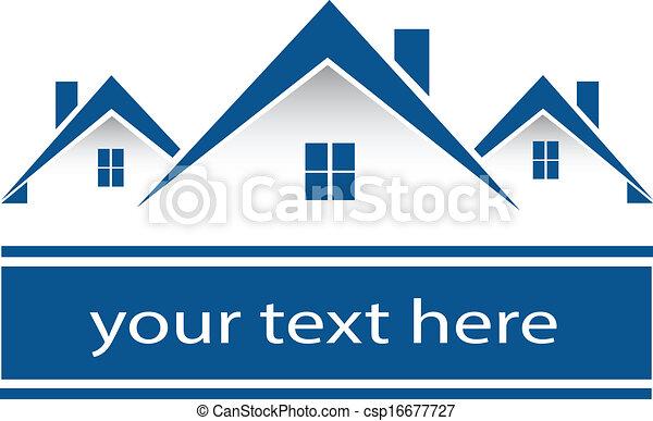 reale, case, proprietà, logotipo - csp16677727