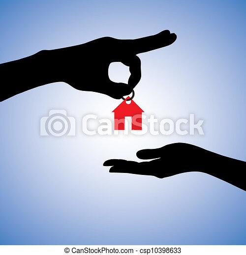 reale, concetto, proprietà, casa, illustrazione, vendita, gifting, o - csp10398633