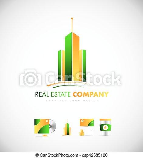 reale, costruzione, proprietà, grattacielo, logotipo, icona - csp42585120
