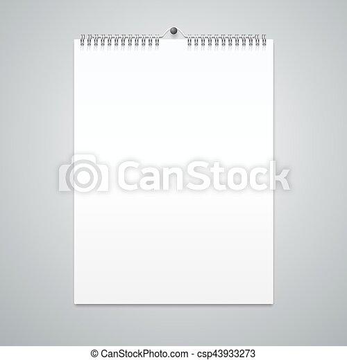 Una plantilla de calendario realista en blanco. Vector - csp43933273