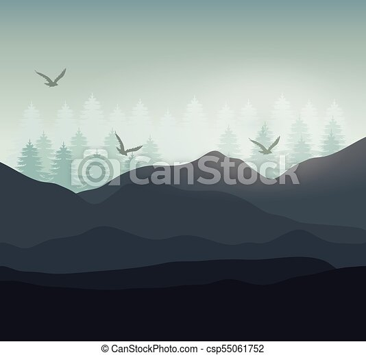 Realista Diseno Paisaje Montana Montana Grafico Cielo