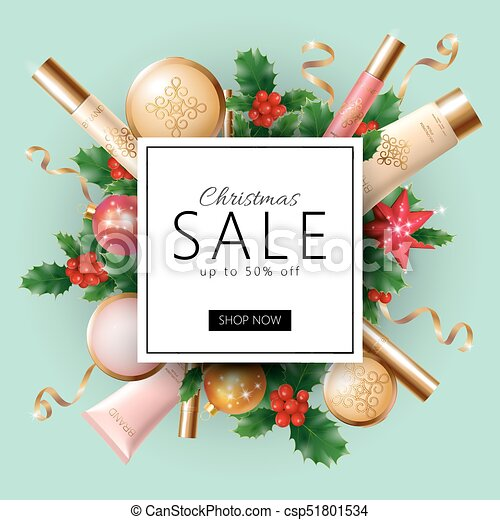 Realistic 3d Christmas Holiday Sale Web Banner Template Cosmetic Makeup Product Ad Decoration Holly Branches New Year