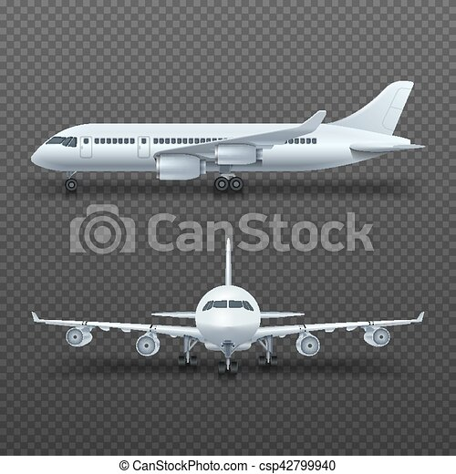 Realistic 3d Detail Airplane Commercial Jet Isolated Vector