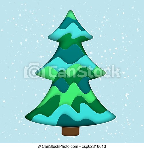 3d Paper Christmas Tree.Realistic 3d Paper Cut Isolated Christmas Tree