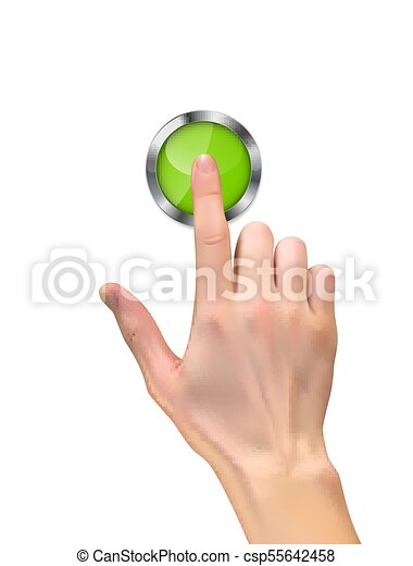 Realistic 3D Silhouette of hand with inger pressing a green start button on White Background. Vector Illustration - csp55642458